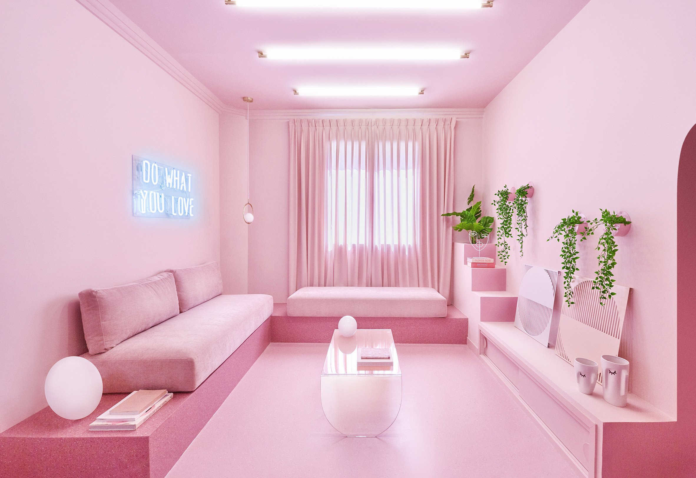 Living room of Minimal Fantasy, a pink apartment in Madrid