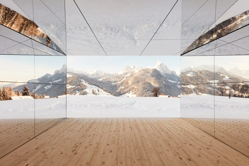 Mirage Gstaad mirrored building art installation by Doug Aitken in Switzerland from inside