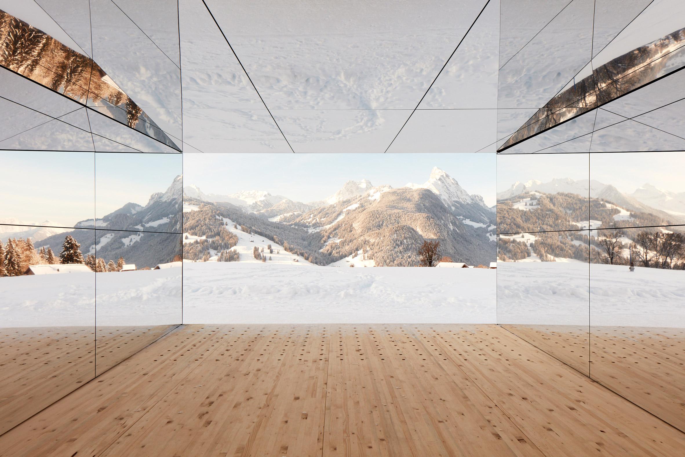 Mirage Gstaad mirrored building art installation by Doug Aitken in Switzerland from inside