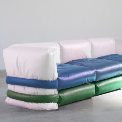 Muller Van Severen designs Pillow Sofa based on Kassl Edition's padded Pillow Bag