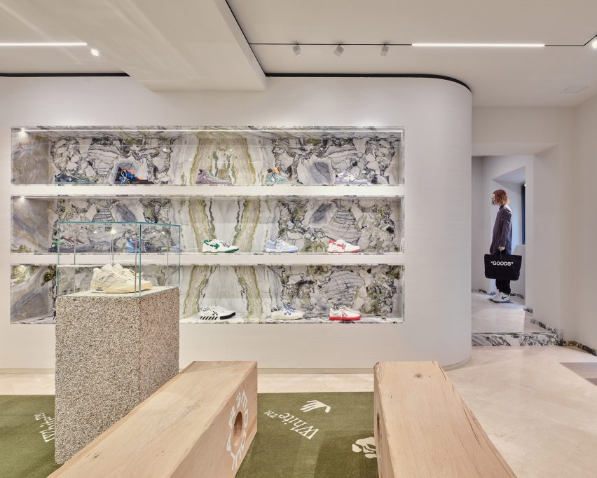 Menswear section in Off-White's Milan store on Via Verri