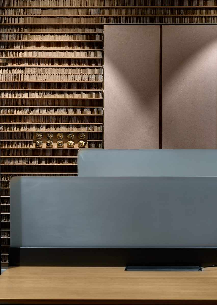 Reception desk of Office in Cardboard by Studio VDGA in Pune, India