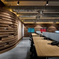 Desks in Walls of of Office in Cardboard by Studio VDGA in Pune, India
