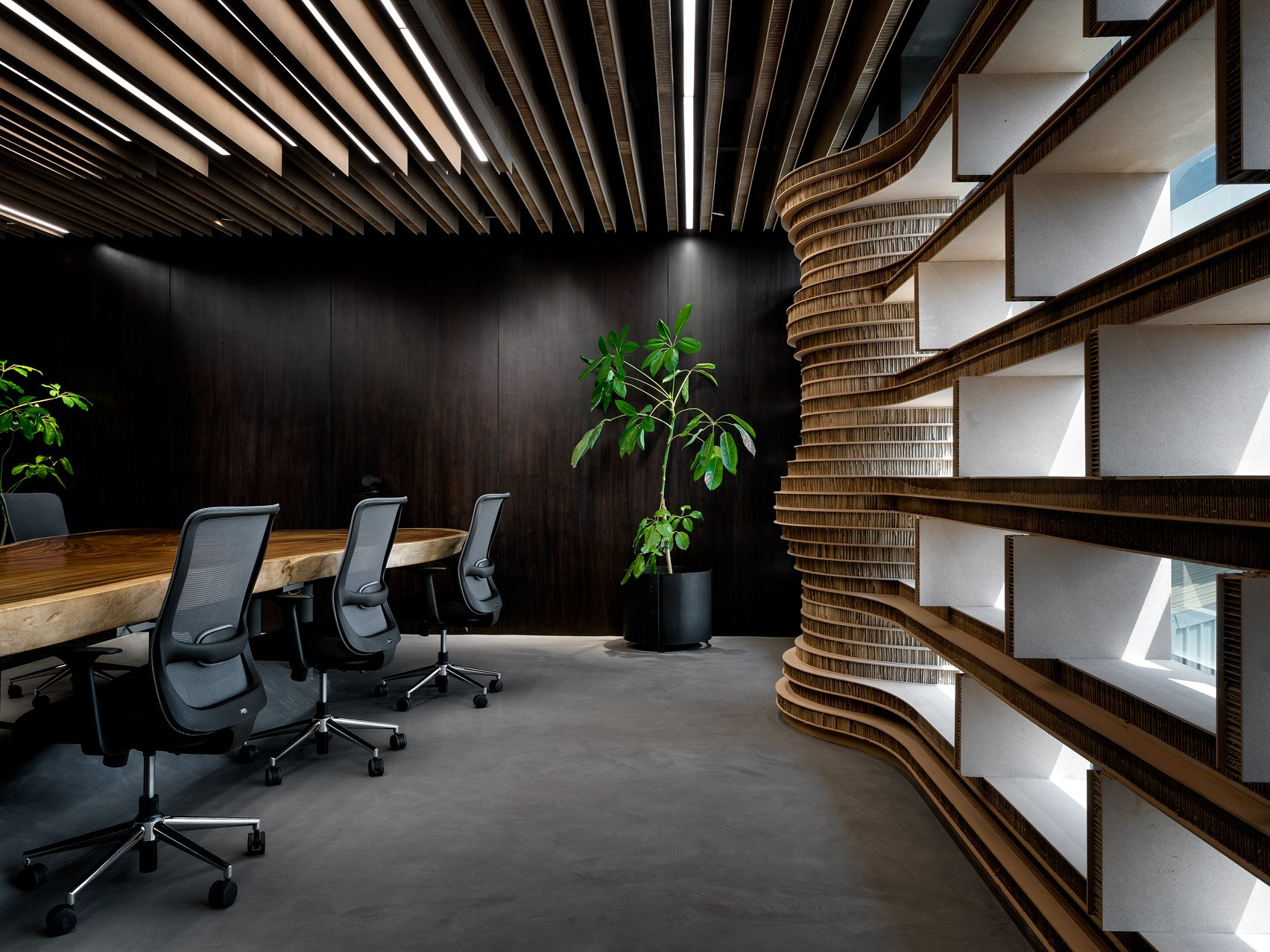 Meeting room of Walls of of Office in Cardboard by Studio VDGA in Pune, India