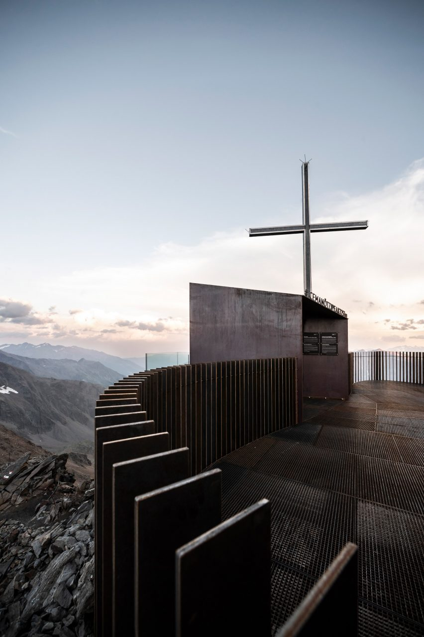 Summit cross of Otzi Peak 3251m viewpoint by Netowrk of Architecture in South Tyrol
