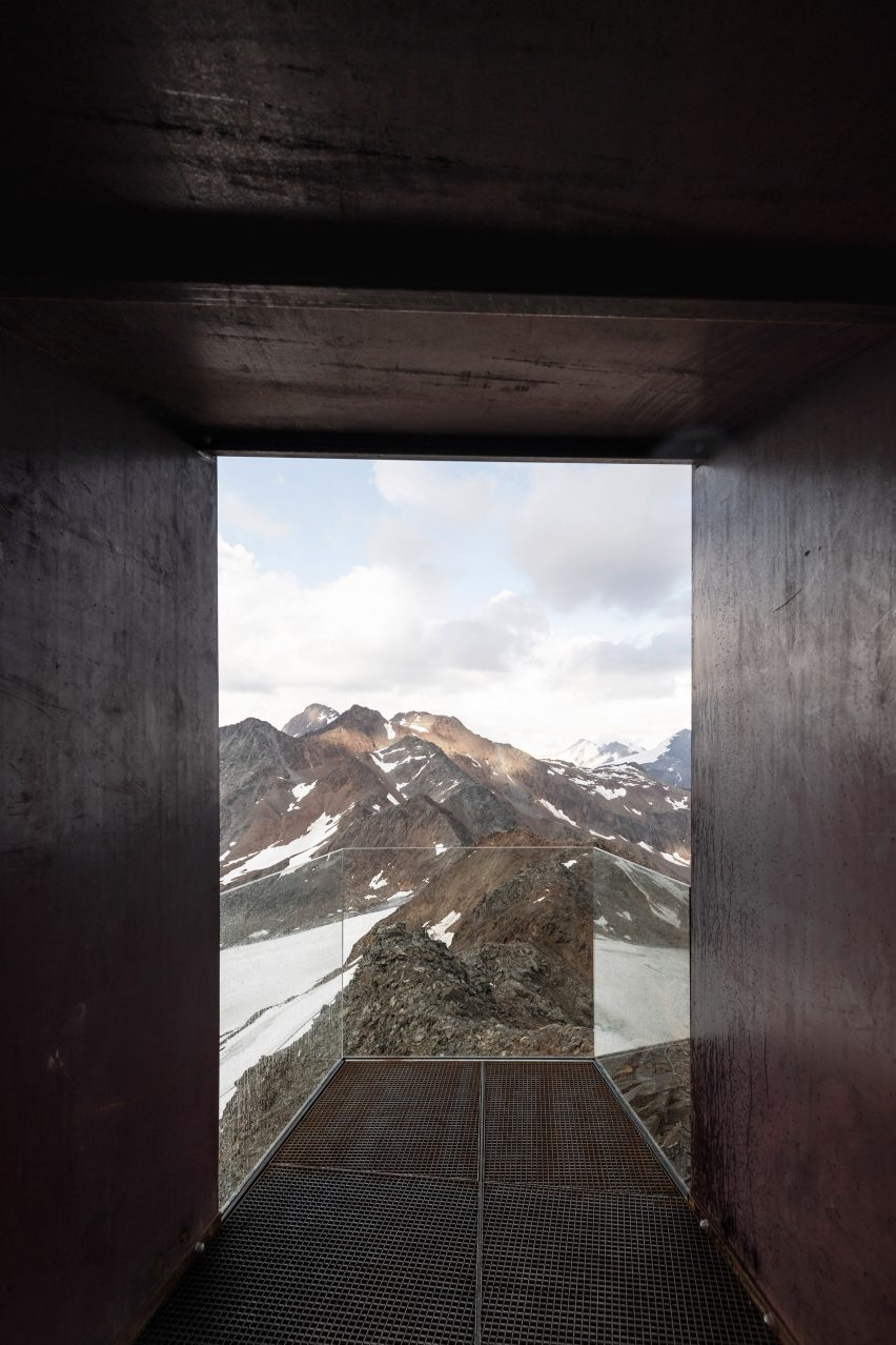 Funnel view of weathering steel Otzi Peak 3251m viewpoint by Netowrk of Architecture in South Tyrol