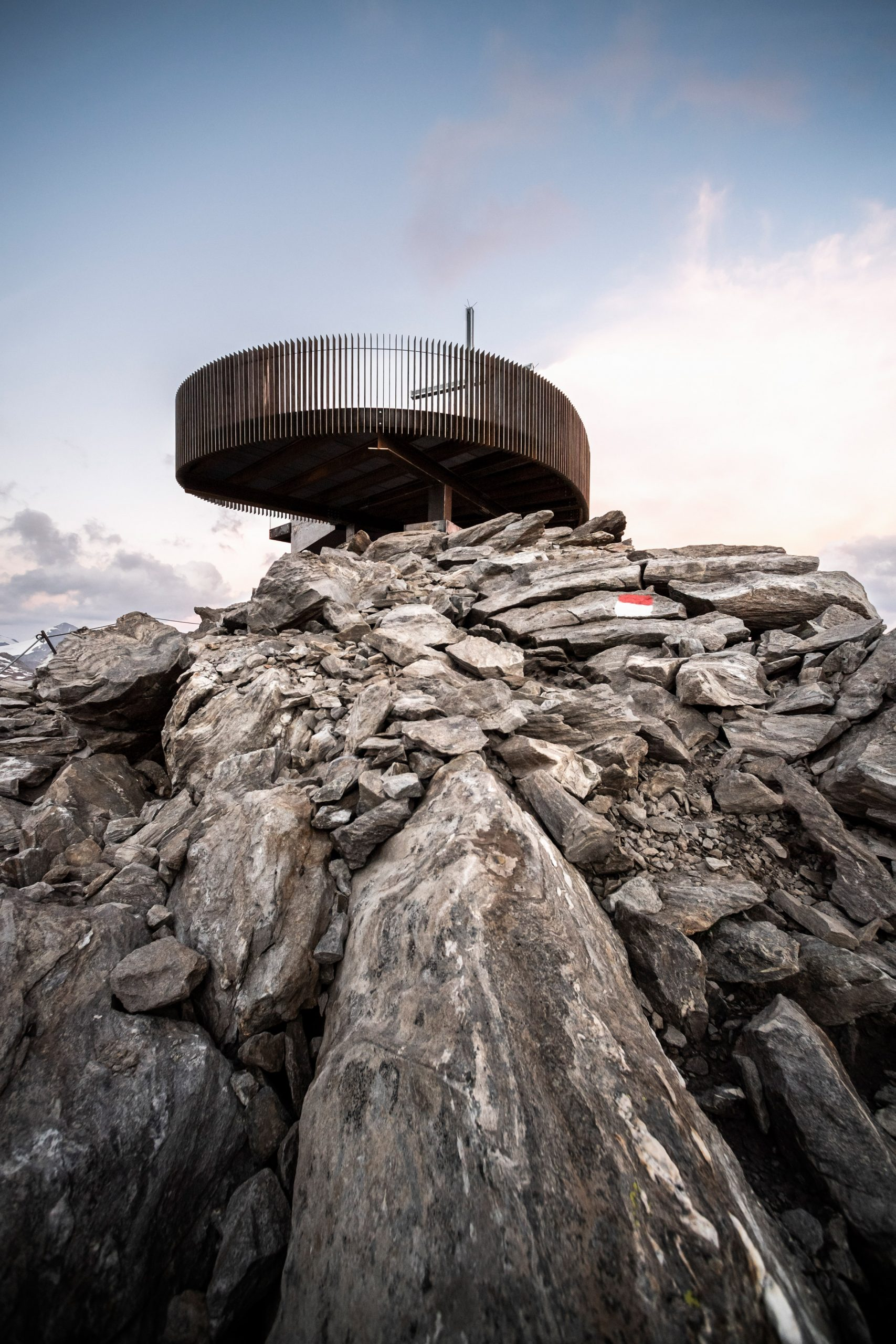 Otzi Peak 3251m is made from weathering steel