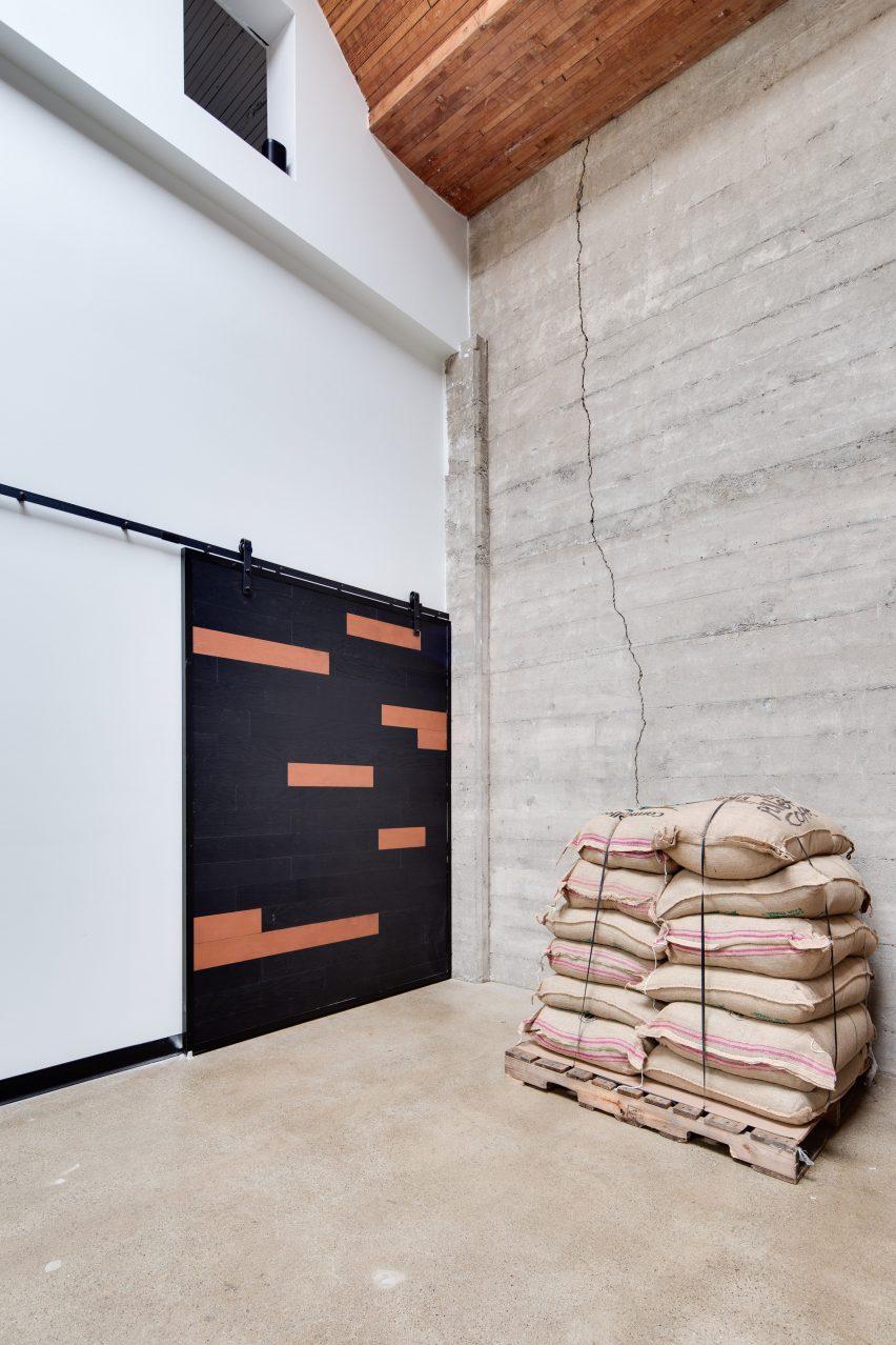 Door in Pallet Coffee Roasters HQ by Alice D'Andrea