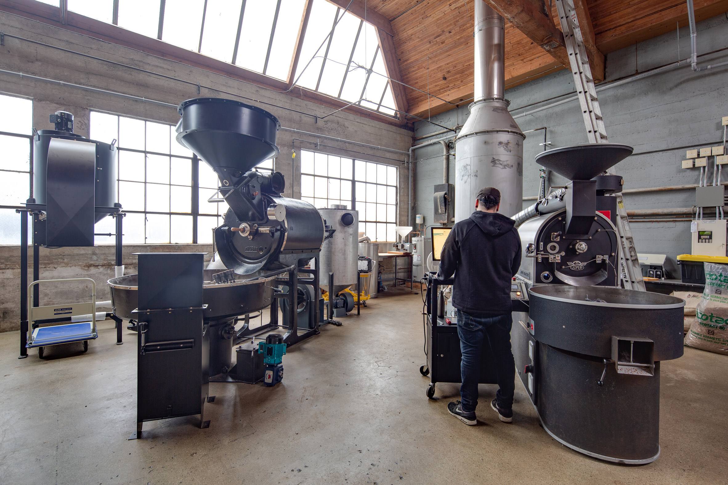 Roastery in Pallet Coffee Roasters HQ by Alice D'Andrea