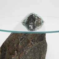 Paul Cocksedge's Slump furniture features glass pressed over rocks