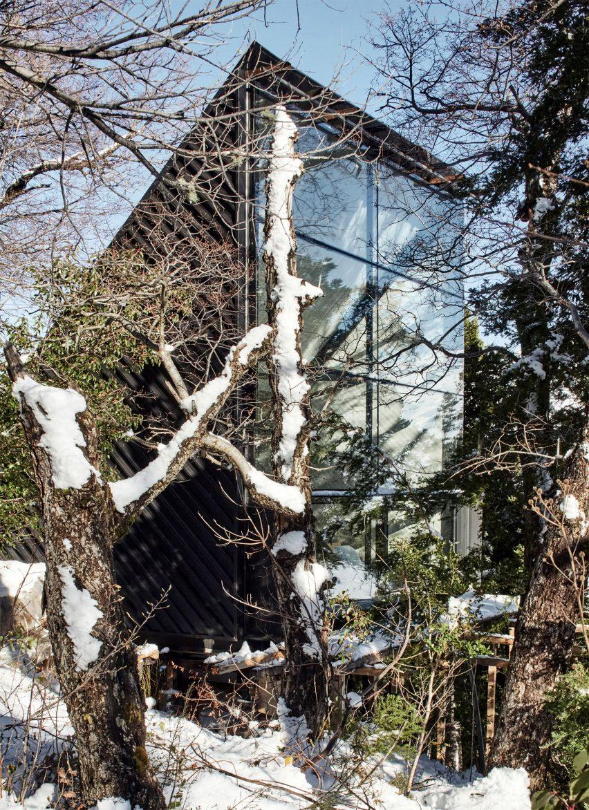 View of rear of Prism House + Room by Smiljan Radić