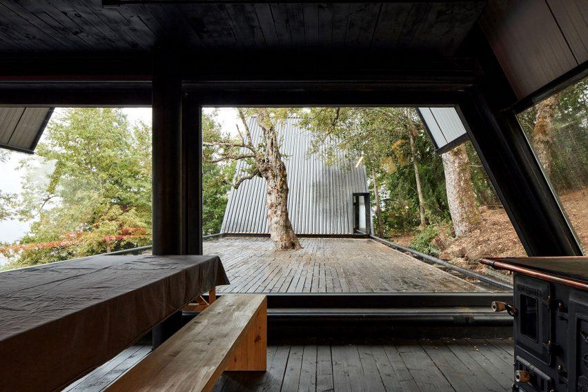 View form lounge in Prism House + Room by Smiljan Radić