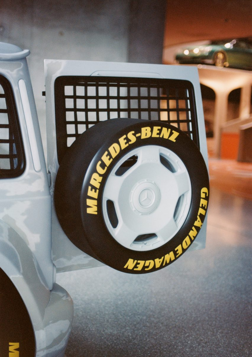 Rear door and spare wheel of Project Geländewagen by Virgil Abloh and Mercedes Benz