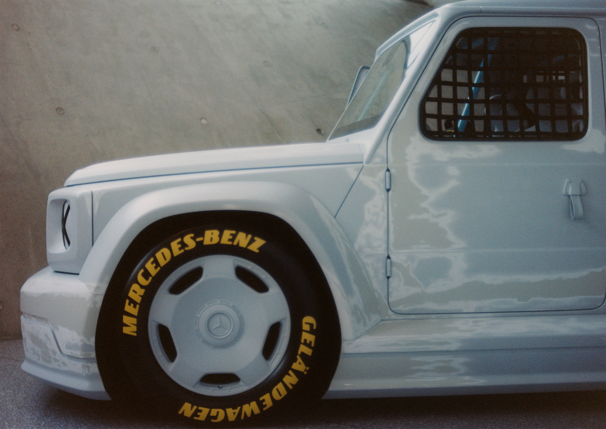 Exterior and wheel of Project Geländewagen car by Virgil Abloh and Mercedes Benz