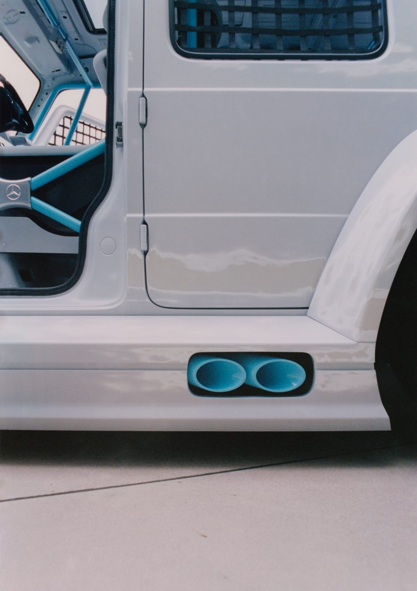 Blue exhaust pipes in Project Geländewagen car by Virgil Abloh and Mercedes Benz