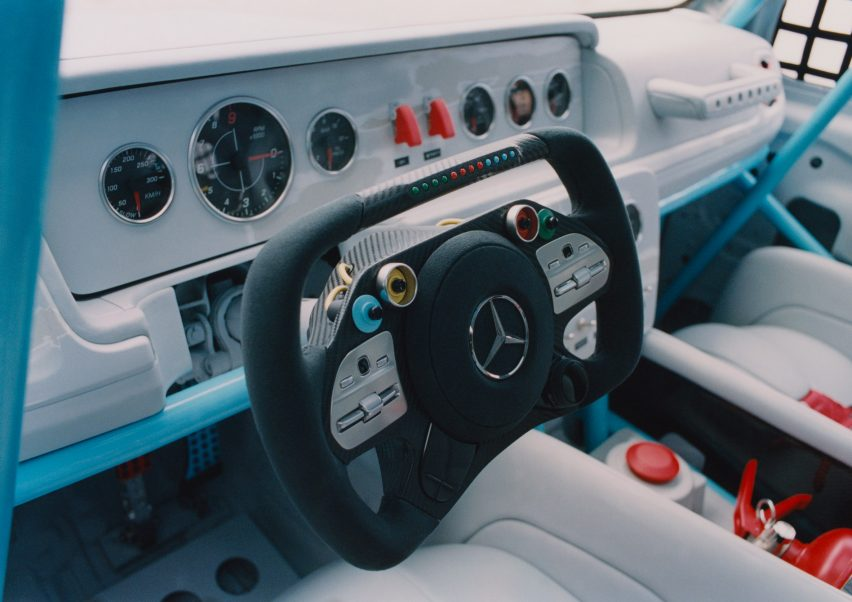Dashboard and wheel of Project Geländewagen car by Virgil Abloh and Mercedes Benz