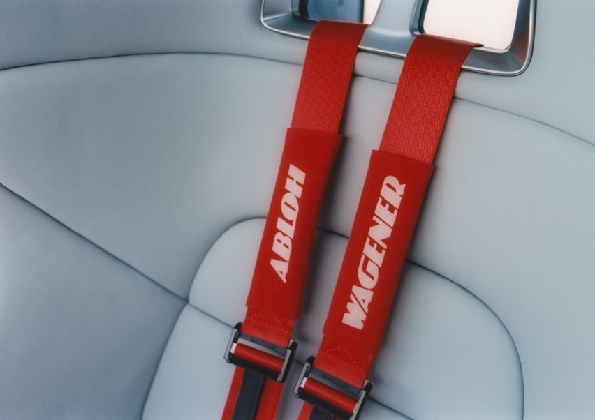 Red seat belts in Project Geländewagen car by Virgil Abloh and Mercedes Benz