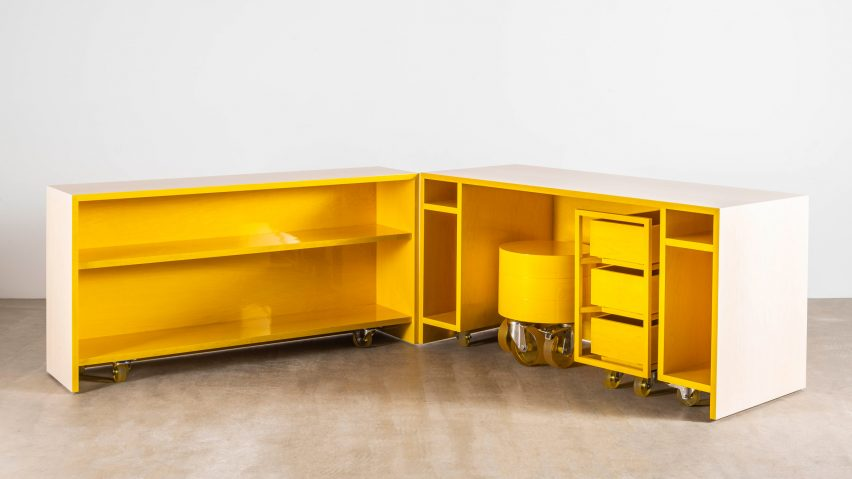 Sabine Marcelis Designs Candy Cubicle Desk With Bright Yellow Interior