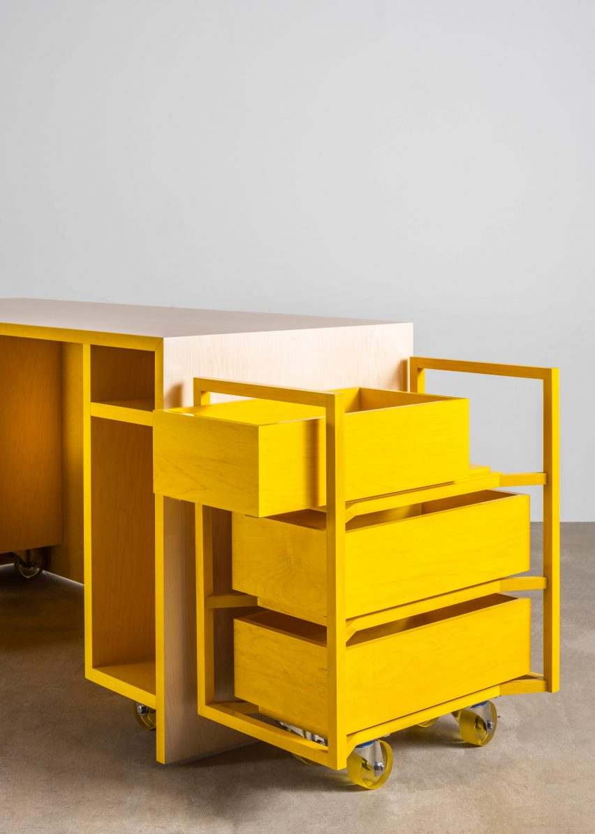 The drawer trolley in Sabine Marcelis's Candy Cubicle desk