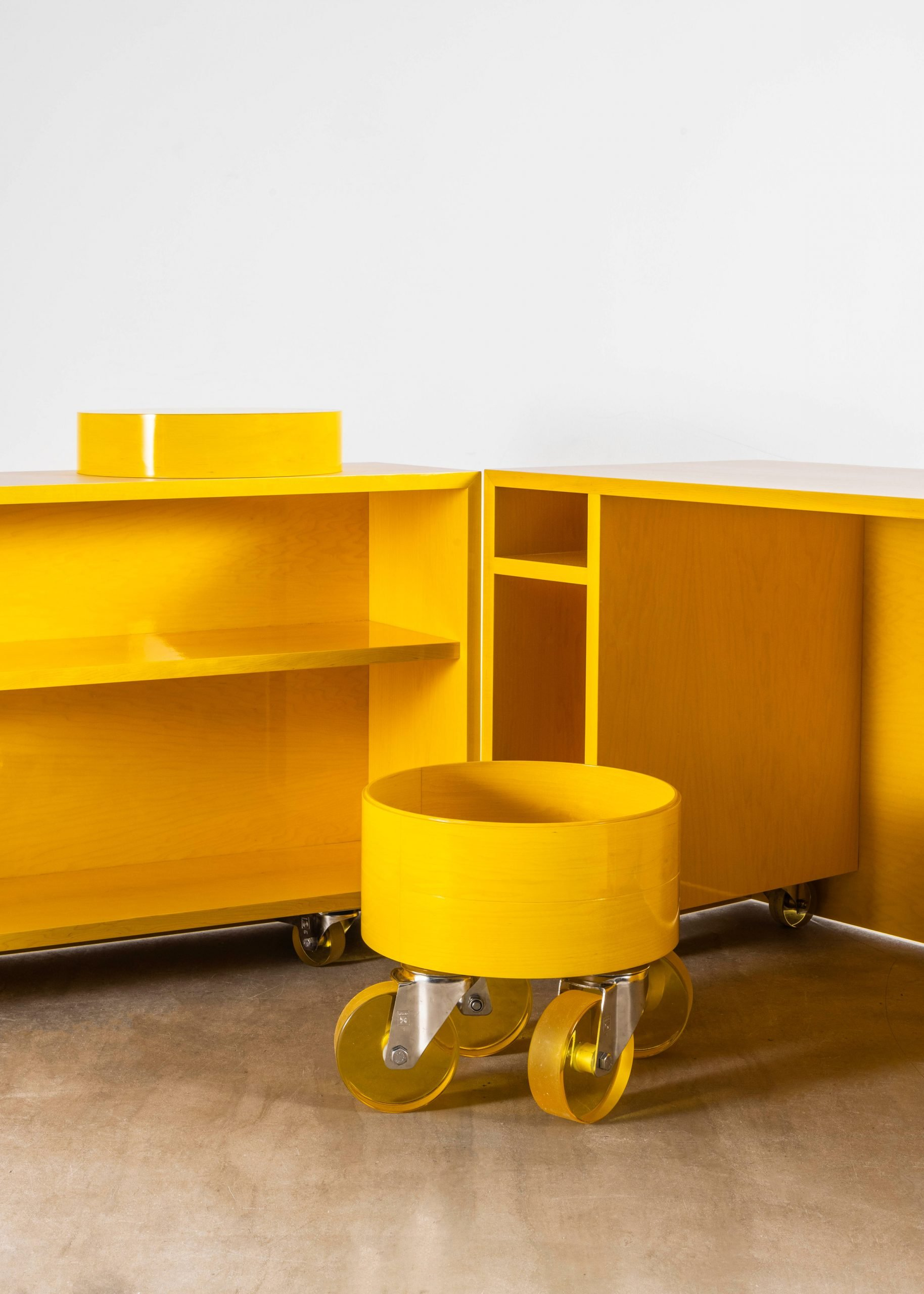 The interior of Sabine Marcelis's Candy Cubicle desk is bright yellow