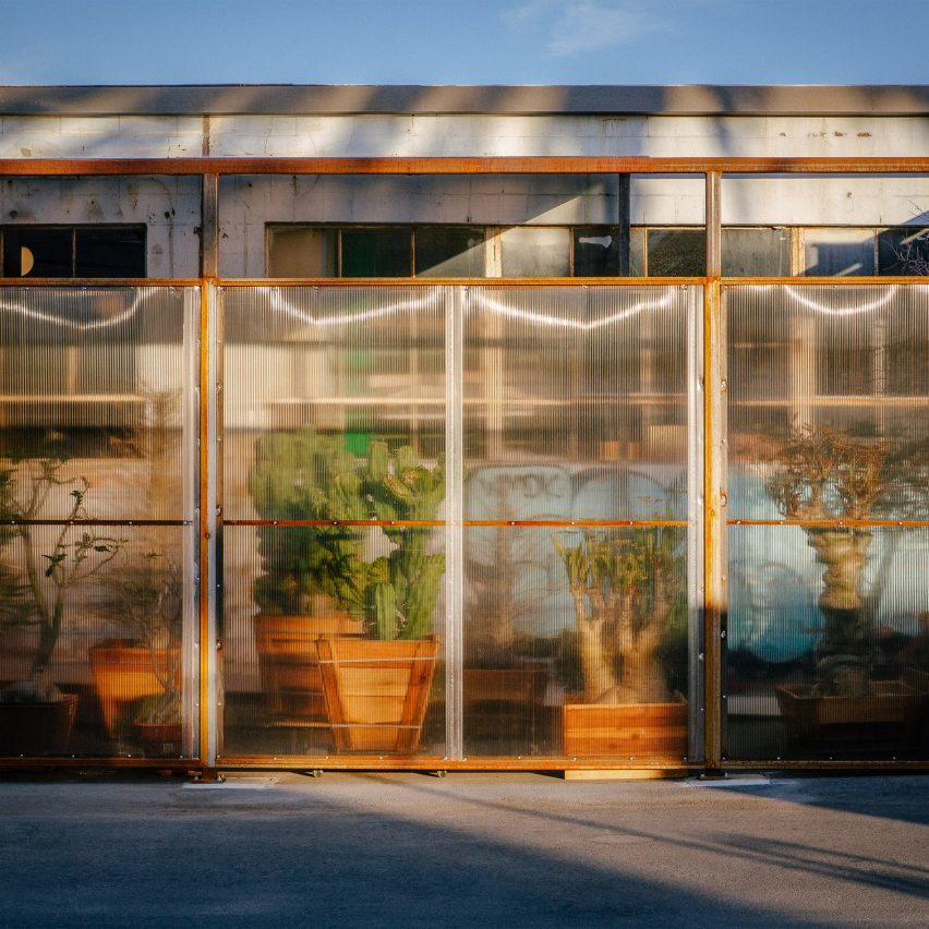 Tinted polycarbonate blurs cactus inside Santa Monica Greenhouse by Part Office