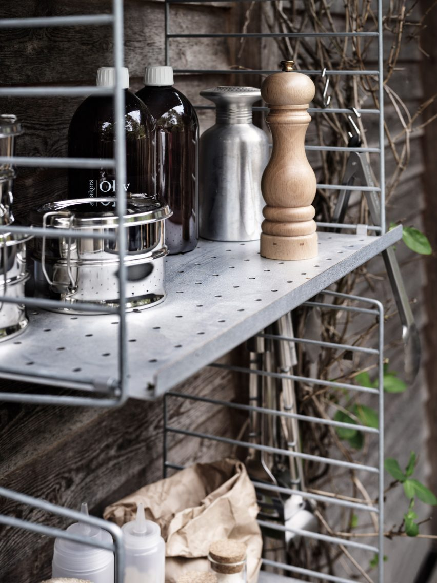 Galvanized metal outdoor shelving