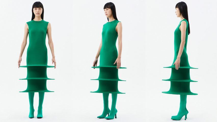 Green A-line dress from Sun Woo's In Between collection