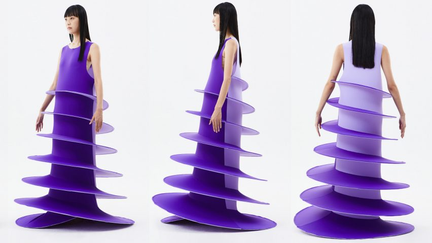 Purple A-line dress from Sun Woo's In Between collection