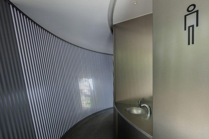Sink at Tadao Ando's toilet in Jingu-Dori Park, Tokyo