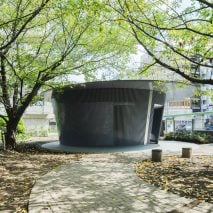 Circular toilet by Tadao Ando in Jingu-Dori Park as part of Tokyo Toilet project