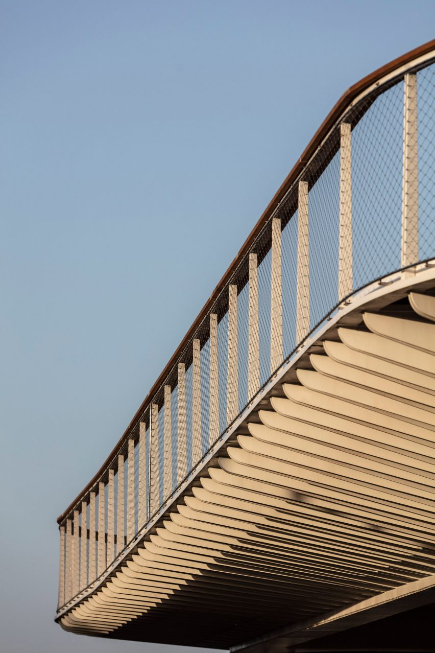 Detailed view of the Technion Entrance Gate bridge standing underneath