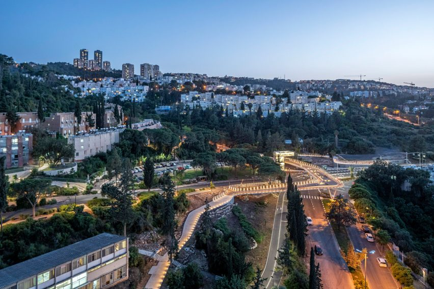 Aerial view of the Technion Entrance Gate bridge at night