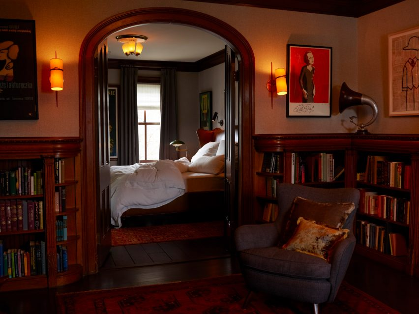 Bedrooms inside The Maker Hotel in Hudson, New York