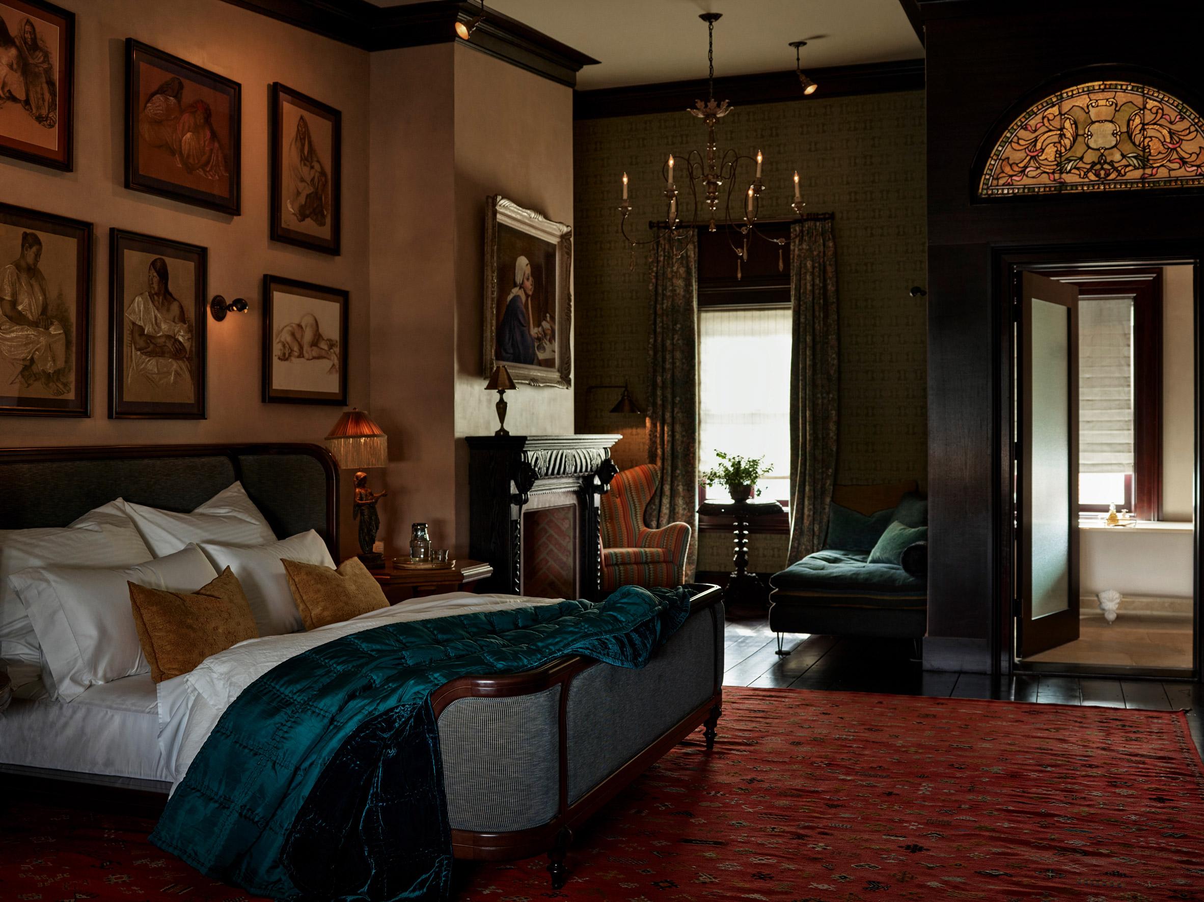 Bedrooms inside The Maker Hotel in Hudson, New York