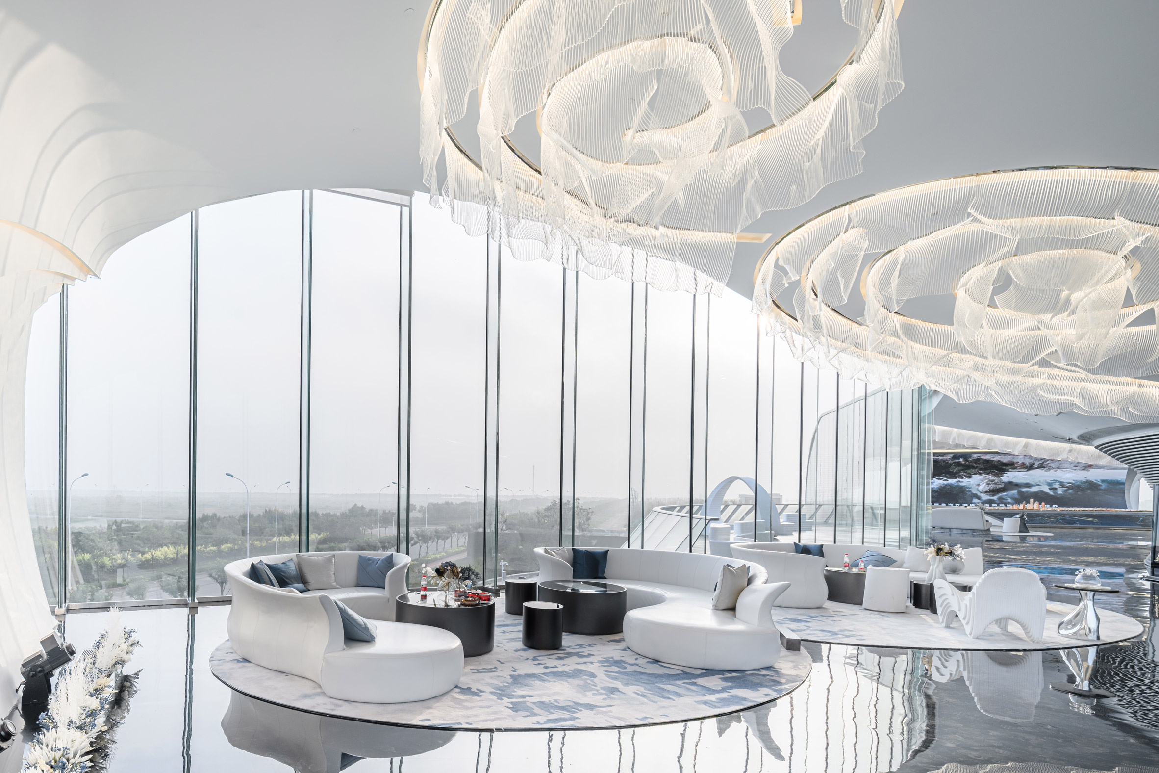 Interiors of The Wave by Lacime Architects in Tianjin, China