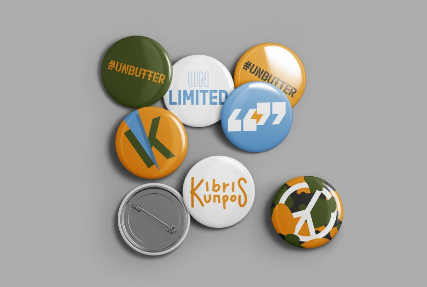 Pin badges from UNbuffer, a graphic design postcard project by Alexandros Kosmidis