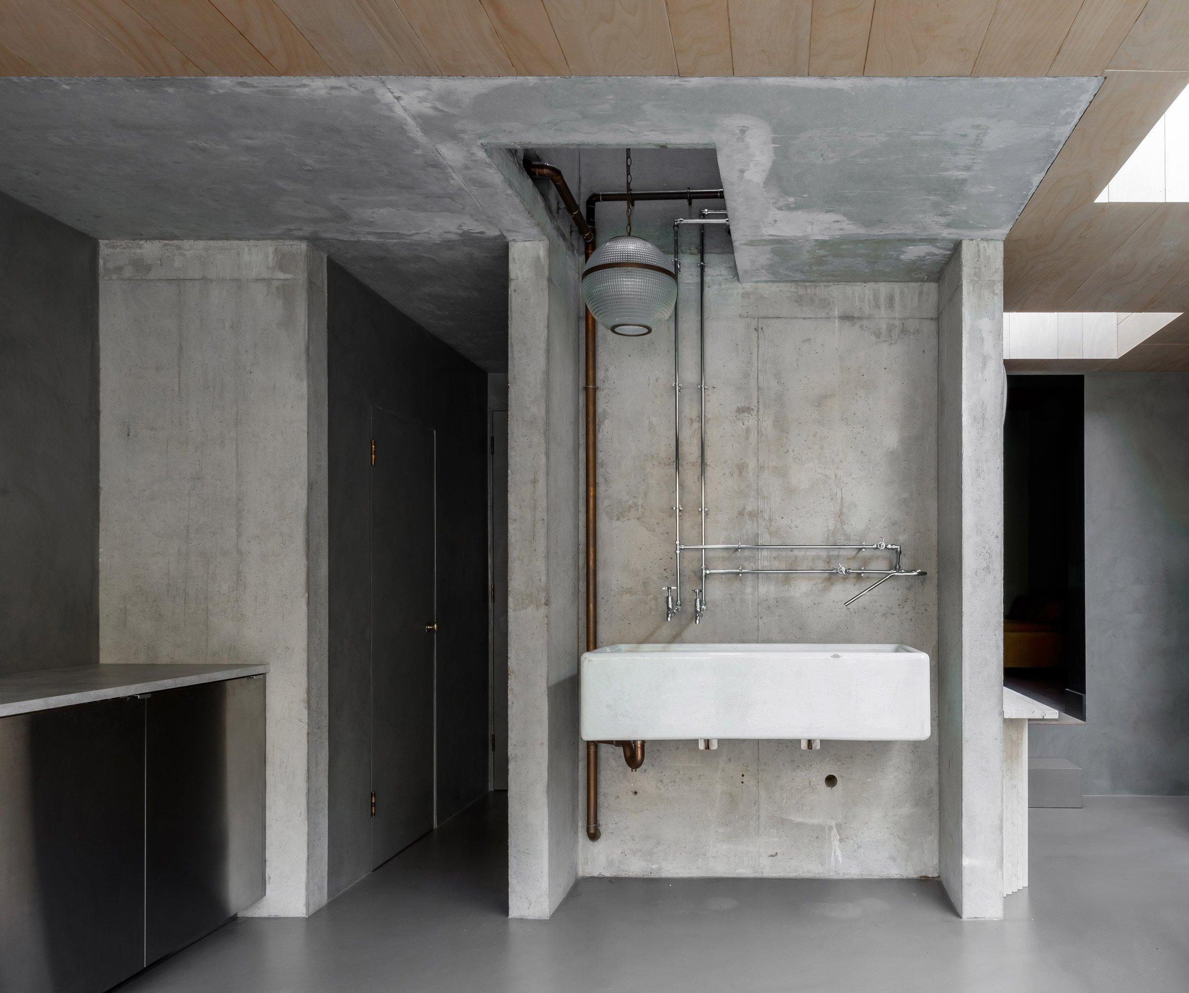 Kitchen sink of Untiled House extension by Szczepaniak Astridge in London