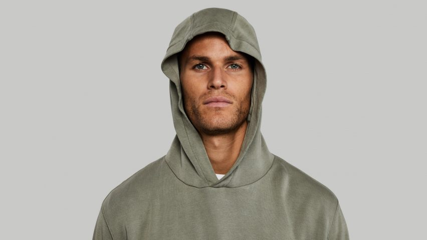 Plant and Pomegranate Hoodie that you can compost in your garden by Vollebak