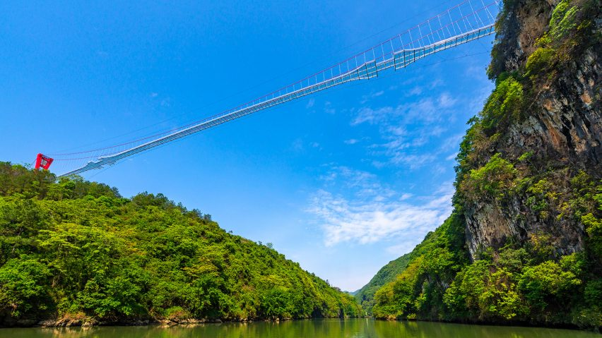 World's longest glass-bottomed bridge in Huangchuan Three Gorges Scenic Area in southern China