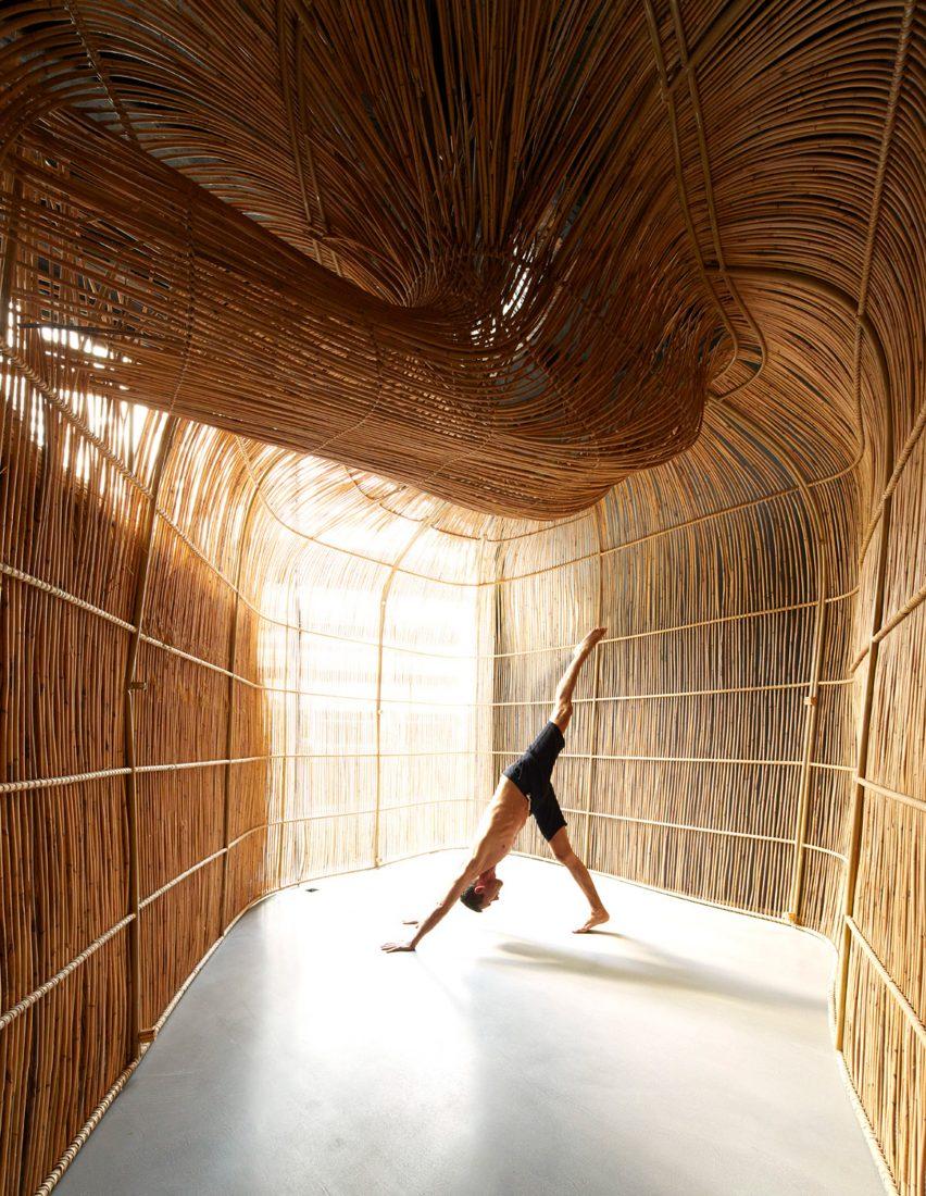 Rattan yoga pods at Vikasa studio in Bangkok