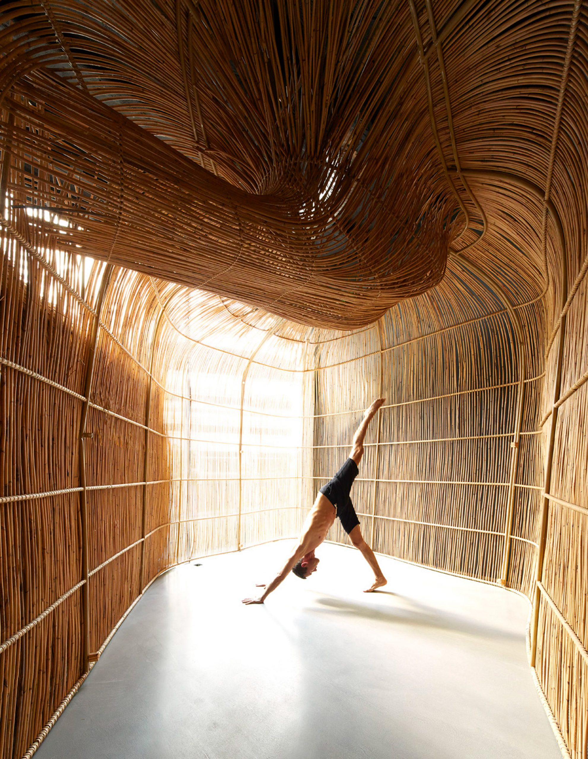 Rattan yoga pods at Vikasa studio in Bangkok