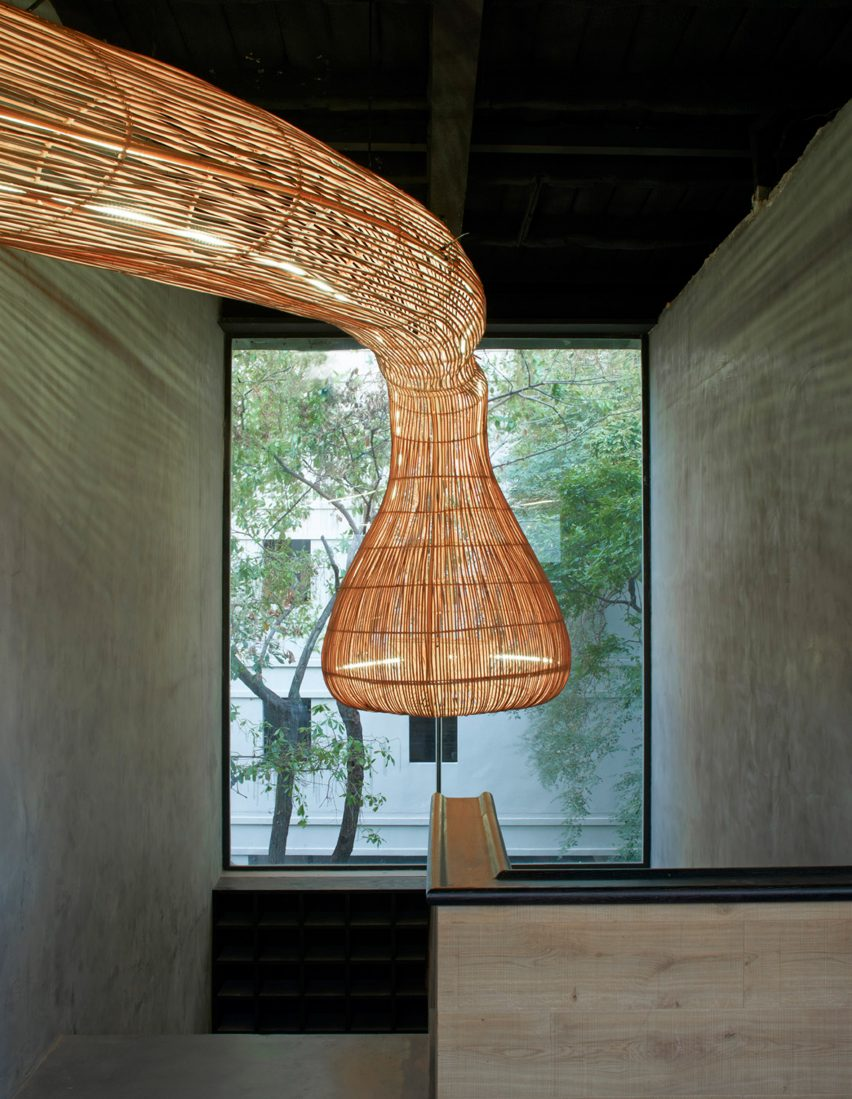 Rattan light feature