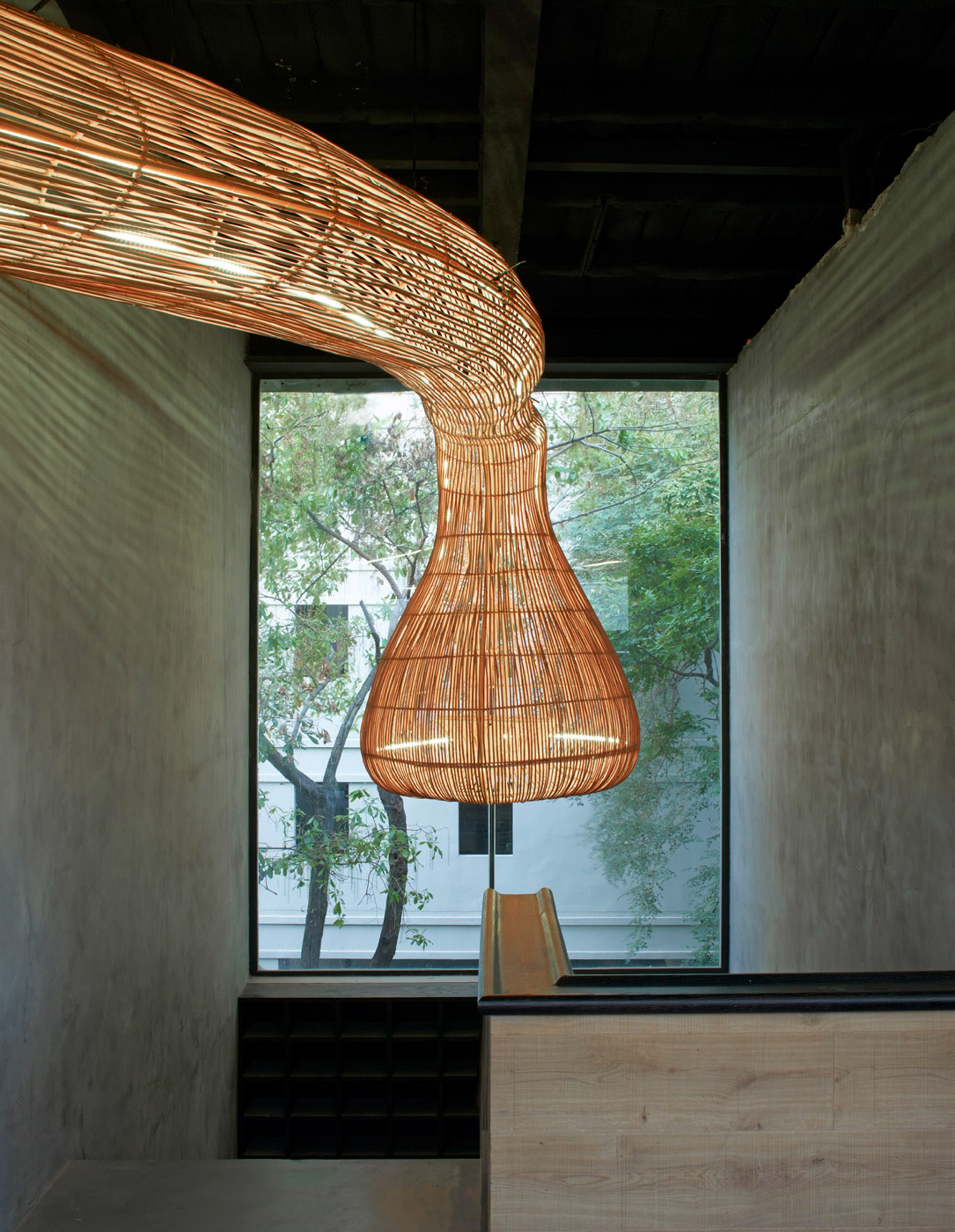 Rattan light feature
