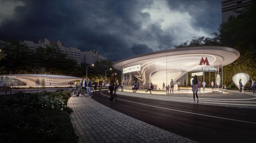 Klenoviy Boulevard Station 2 on Bolshaya Koltsevaya Line in Moscow by Zaha Hadid Architects