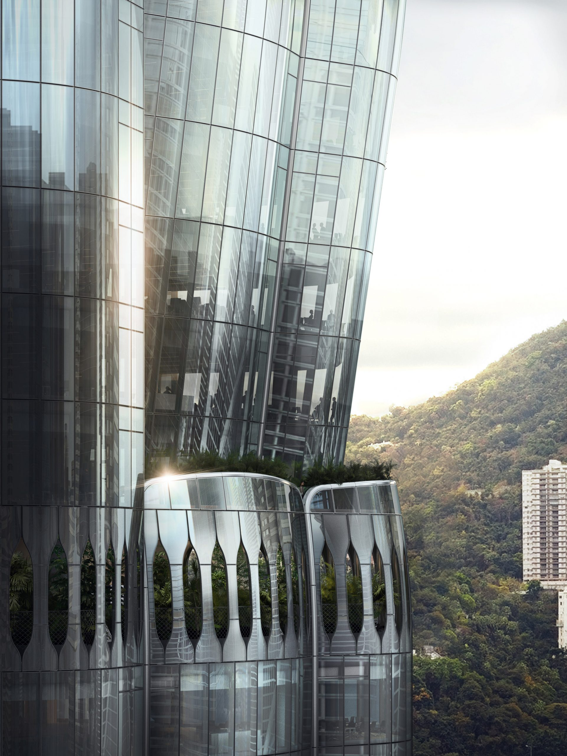Hong Kong skyscraper at 2 Murray Road with tree-filled balconies