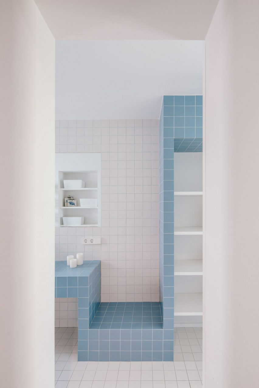 White and blue filed bathroom