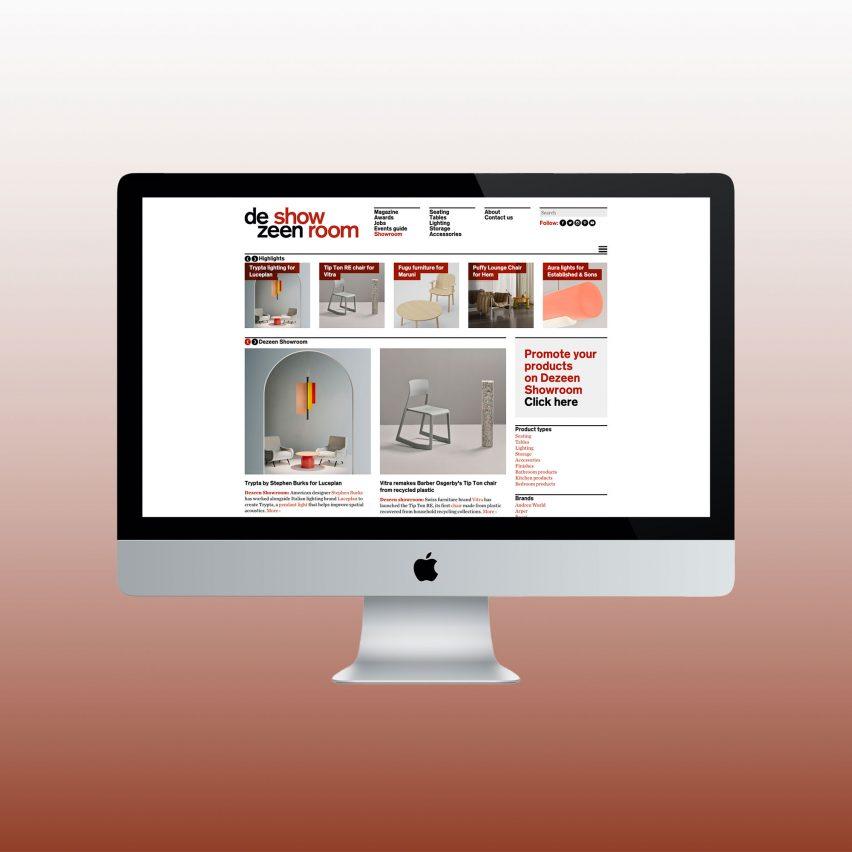 Dezeen Showroom landing page on a desktop