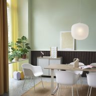 Dinning room with green walls and furniture from Finnish Design Shop