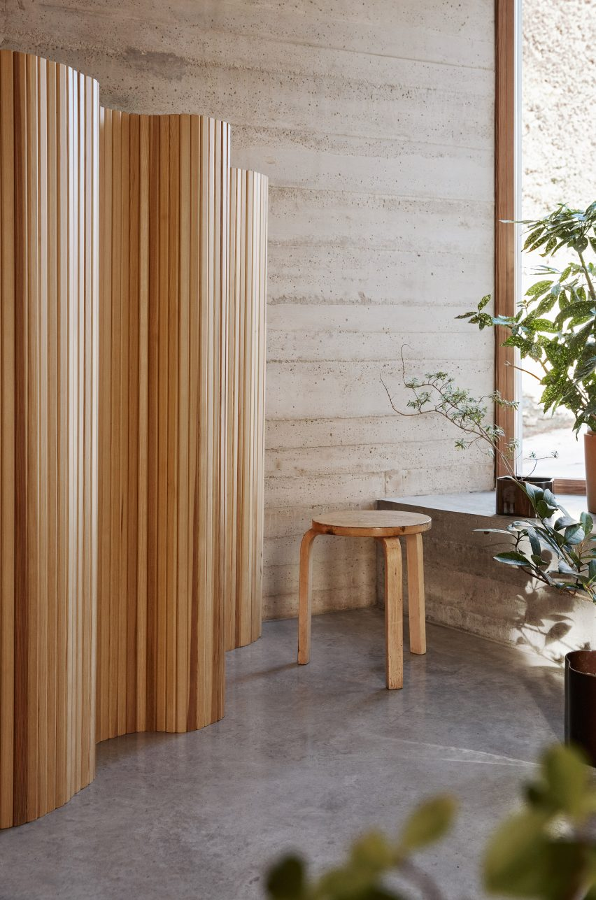 Finnish Design Shop wooden screen and stool