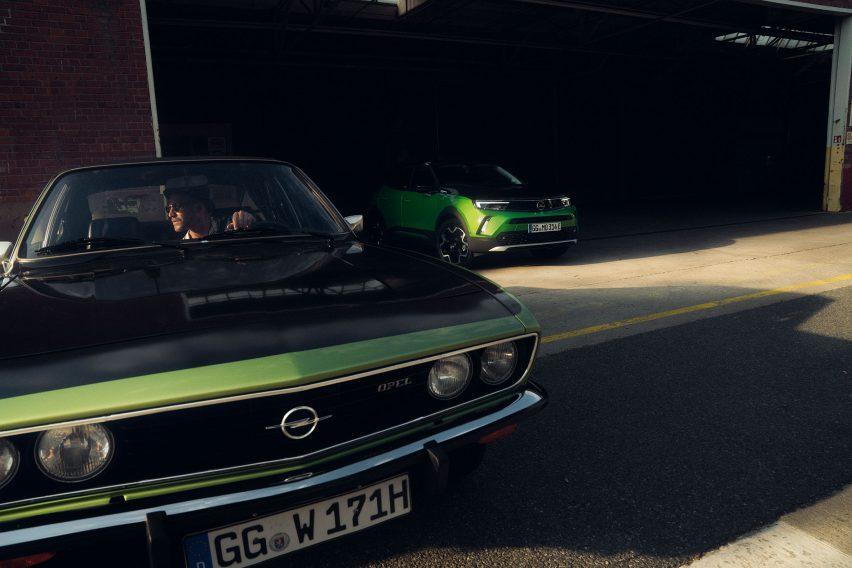 Opel Mokka-e alongside Opel Manta